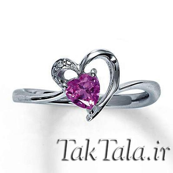 انگشتر قلب آمیتیست طلا و جواهر