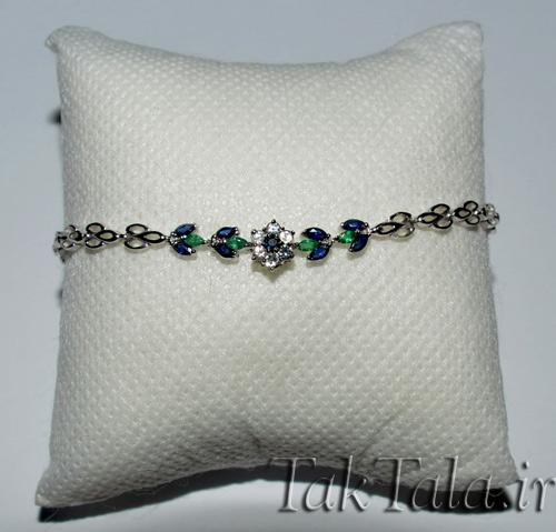 دستبند طلا زمرد یاقوت کبود - دستبد جواهر
