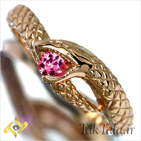 انگشتر مار طلا و جواهر یاقوت صورتی