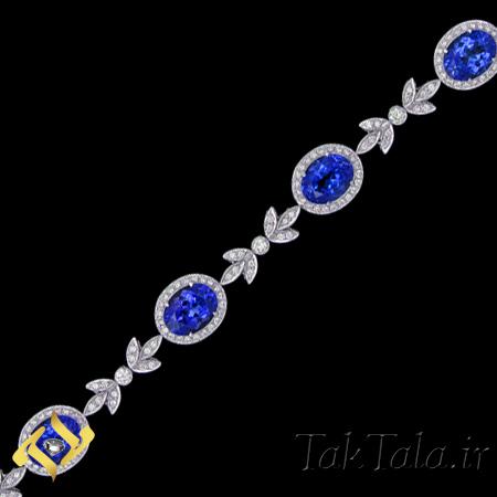 دستبند طلا و جواهر یاقوت کبود و برلیان