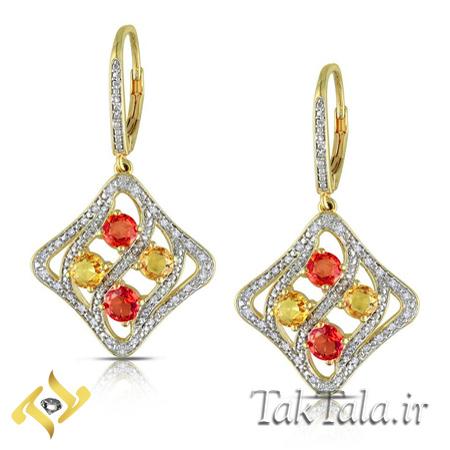گوشواره یاقوت طلا و جواهر