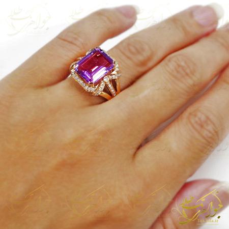 انگشتر جواهر با نگین آمیتیست و الماس تراش برلیان