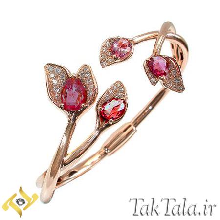 دستبند طلا و جواهر با نگین یاقوت