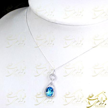 گردن آویز توپاز آبی طلا سفید و برلیان