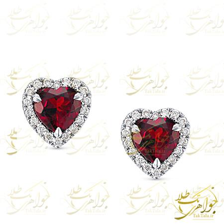 گوشواره یاقوت قرمز طرح قلب