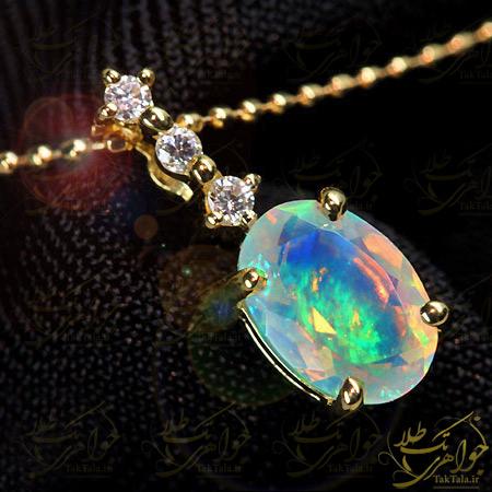 آویز اپال سفید طلا و الماس تراش برلیان