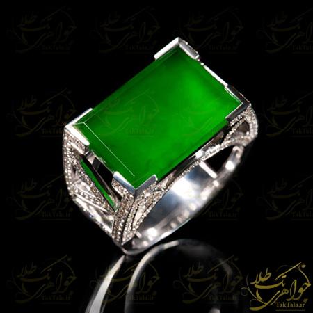 انگشتر عقیق سبز مردانه و برلیان
