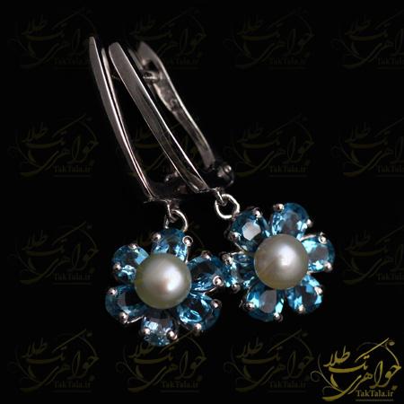 گوشواره مروارید اصل و توپاز آبی طرح گل
