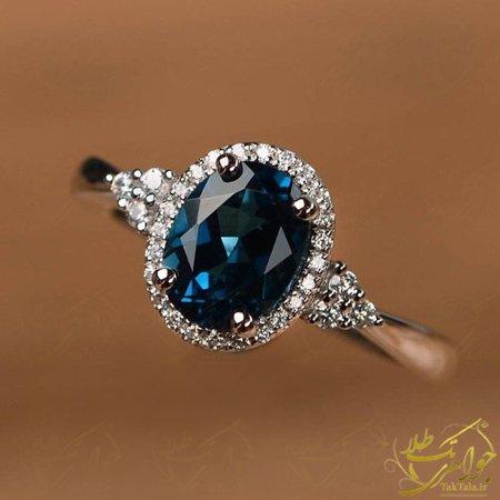 انگشتر توپاز لندنی طلا و الماس تراش برلیان