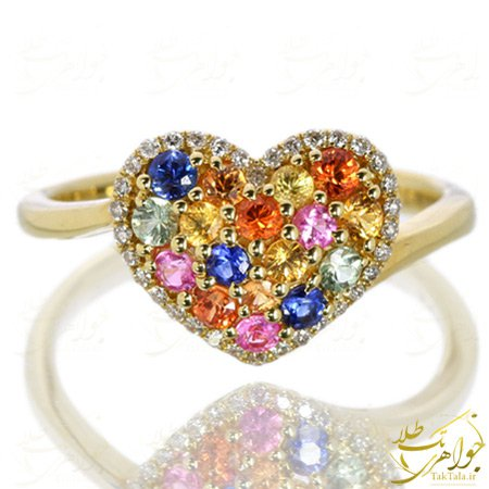 انگشتر قلبی طلا و جواهر چند نگین