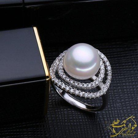 انگشتر مروارید اصل زنانه طلا سفید