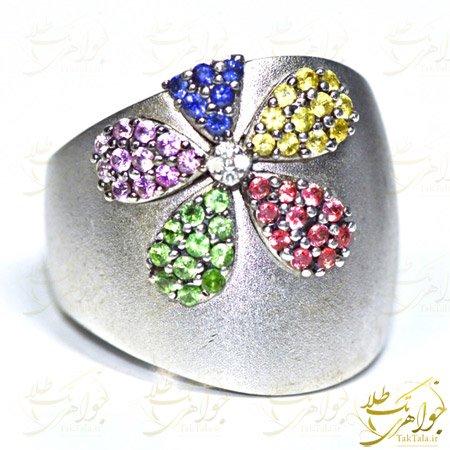 انگشتر چند جواهر زنانه طلا سفید