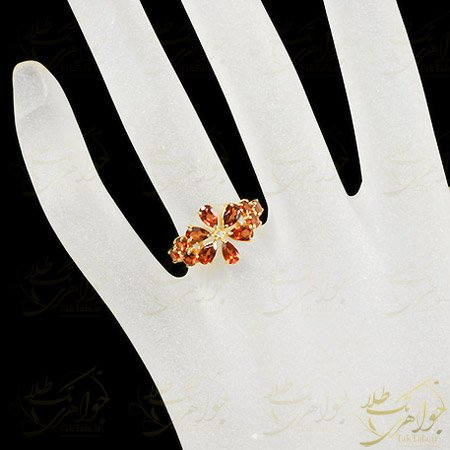 انگشتر گارنت قرمز زنانه مدل گل فلوریدا