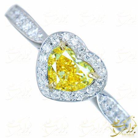 انگشتر یاقوت زرد زنانه طرح قلب