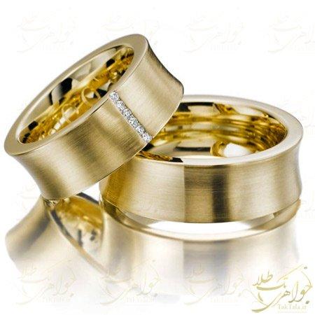 حلقه ست ازدواج طلا با نگین برلیانن