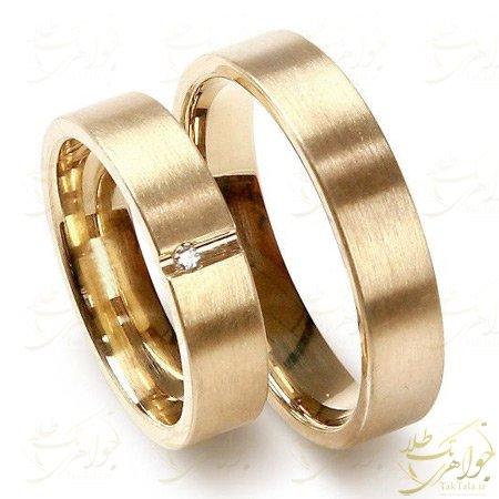 حلقه طلا ازدواج با نگین برلیان