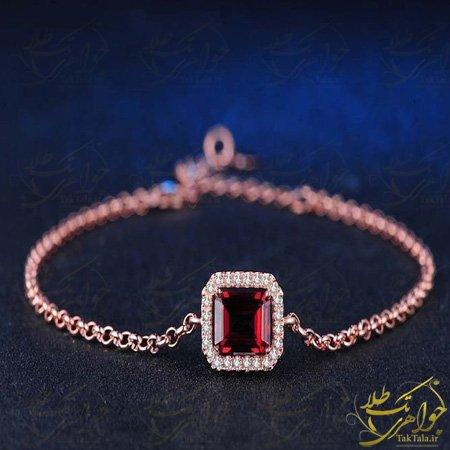 دستبند ظریف دخترانه با نگین گارنت