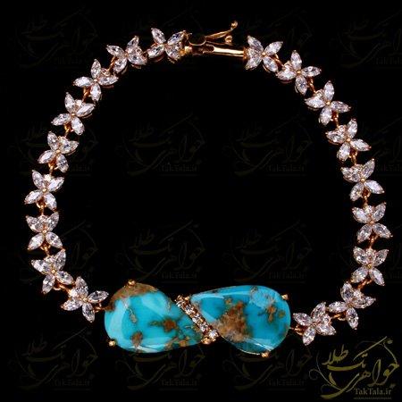 دستبند فیروزه طلا زنانه با نگین مارکیز و برلیان