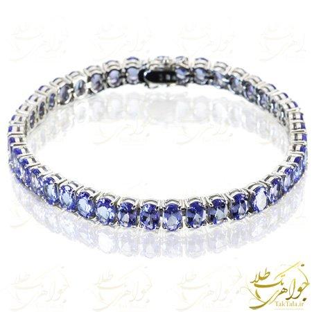 دستبند زنانه طلا با نگین توپاز آبی