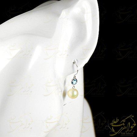 گوشواره مروارید سفید اصل و توپاز آبی
