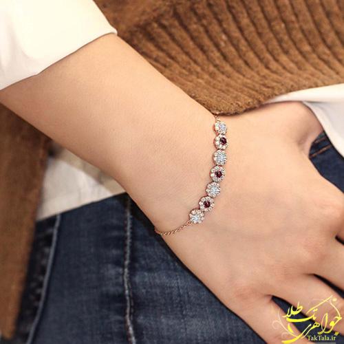 مدل دستبند فلاور طلا و جواهر برلیان