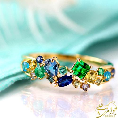 انگشتر طلا و جواهر چند نگین
