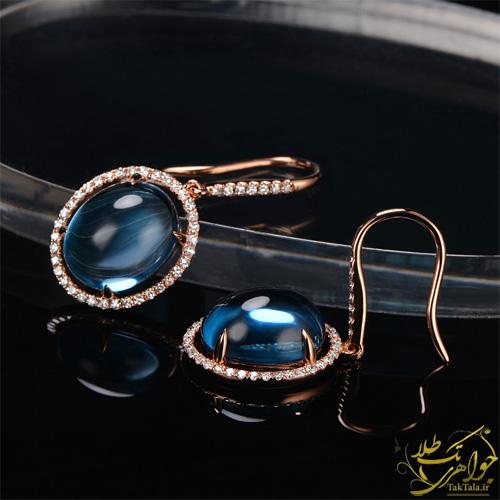 گوشواره طلا و سنگ توپاز آبی طلا