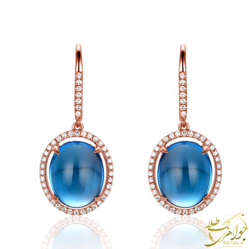گوشواره توپاز آبی طلا و جواهر