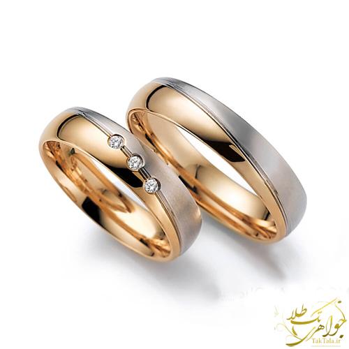 حلقه ست ازدواج طلا دو رنگ با نگین برلیان