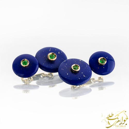 دکمه سر آستین طلا مردانه با سنگ لاجورد و گارنت سبز