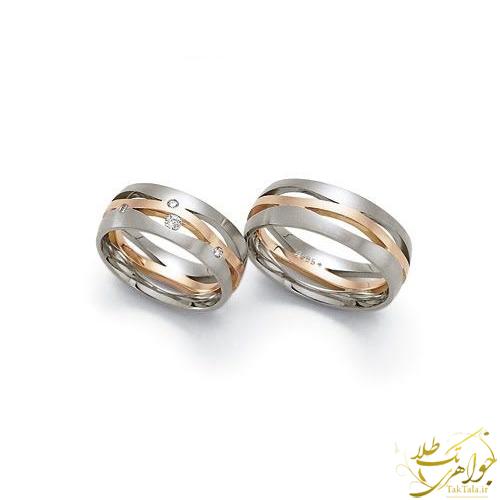 حلقه ست ازدواج دو رنگ طلا با نگین برلیان