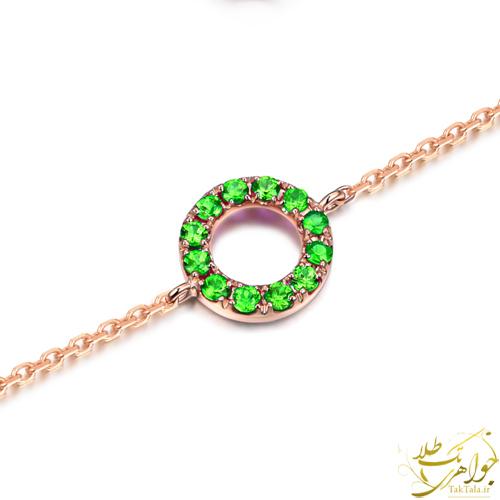 دستبند ظریف طلا و جواهر با نگین گارنت سبز