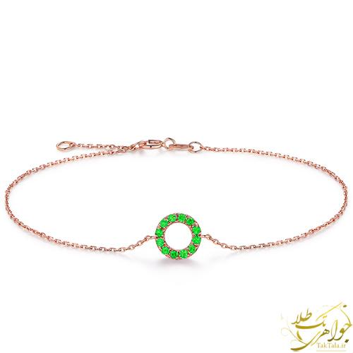دستبند ظریف طلا و جواهر زنانه با نگین گارنت سبز