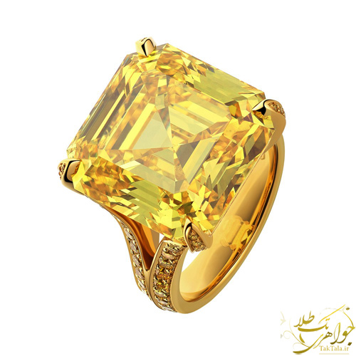 انگشتر طلا زنانه با نگین زیرکنیای زرد
