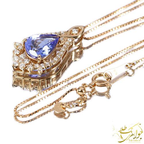 گردنبند طلا و جواهر زنانه با نگین تانزانایت