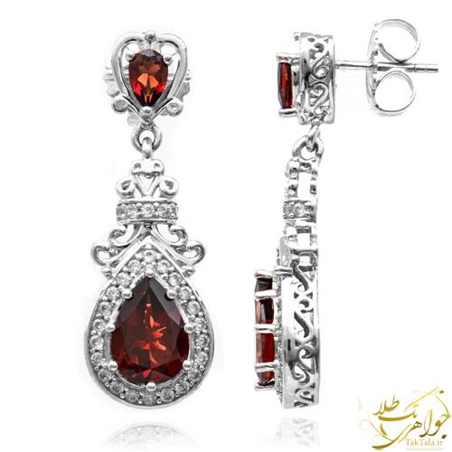 گوشواره گارنت طلا و جواهر زنانه