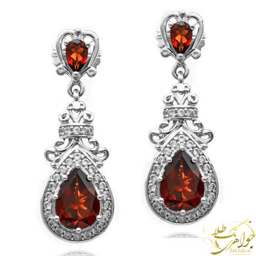 گوشواره طلا و جواهر زنانه با نگین گارنت