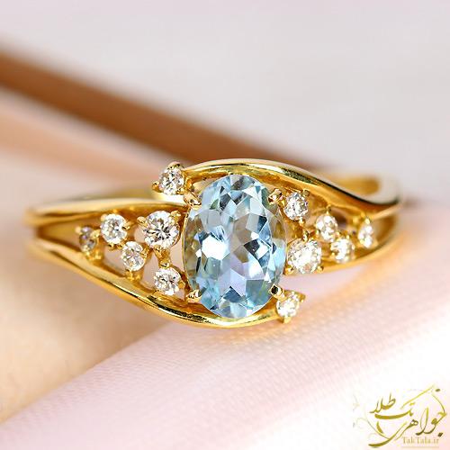 انگشتر آکوامارین طلا و جواهر زنانه