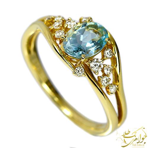 انگشتر آکوامارین اصل طلا و جواهر زنانه