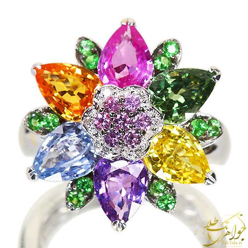 انگشتر جواهر زنانه چند نگین رنگارنگ
