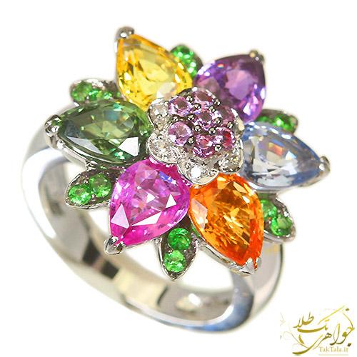 انگشتر رنگارنگ طلا و جواهر