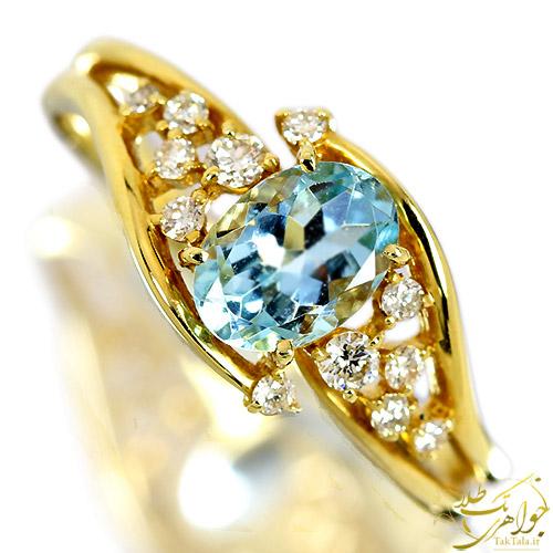 انگشتر طلا با نگین آکوامارین اصل