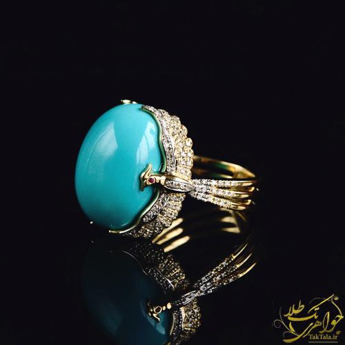 انگشتر طلا زنانه با نگین فیروزه و برلیان