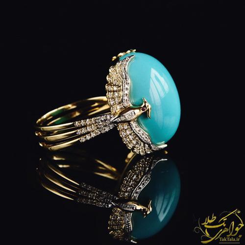 انگشتر فیروزه طلا و جواهر زنانه