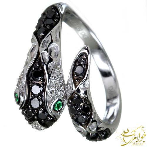 انگشتر مار طلا و جواهر زنانه برلیان سیاه و سفید