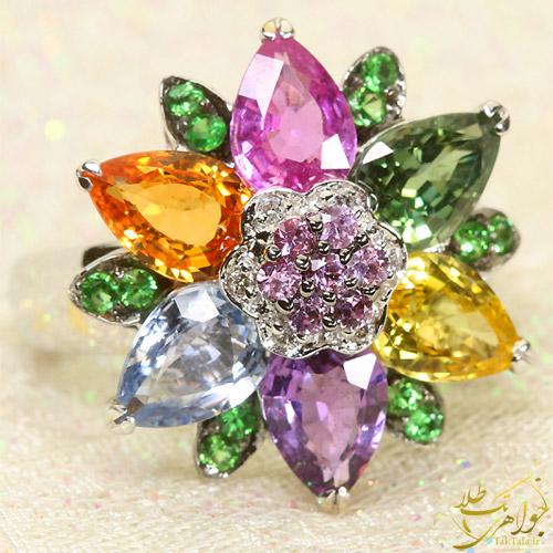 انگشتر چند سنگ طلا و جواهر زنانه رنگارنگ