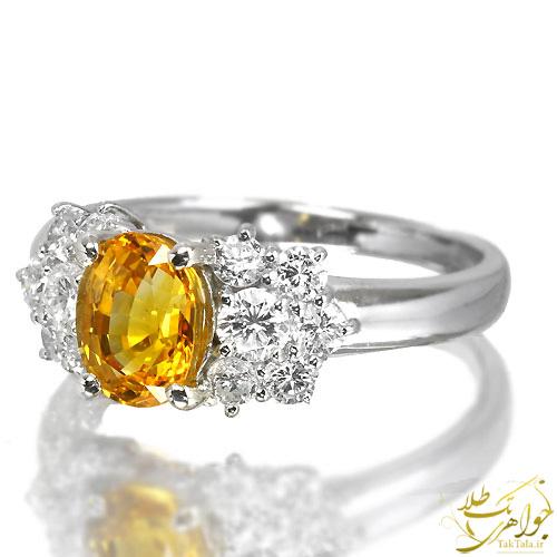 انگشتر طلا زنانه با نگین یاقوت زرد اصل و برلیان
