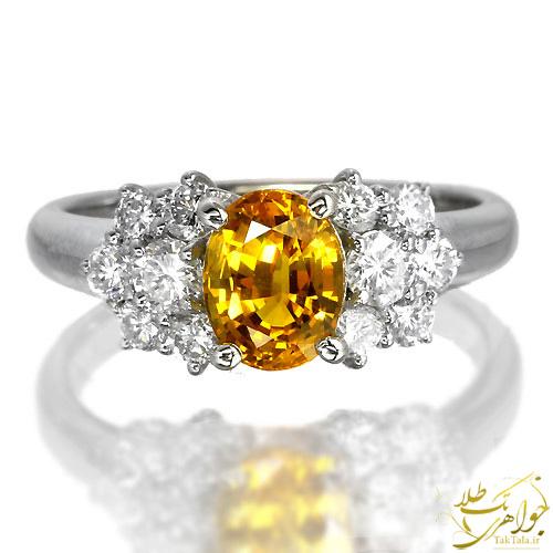 انگشتر یاقوت زرد طلا و جواهر