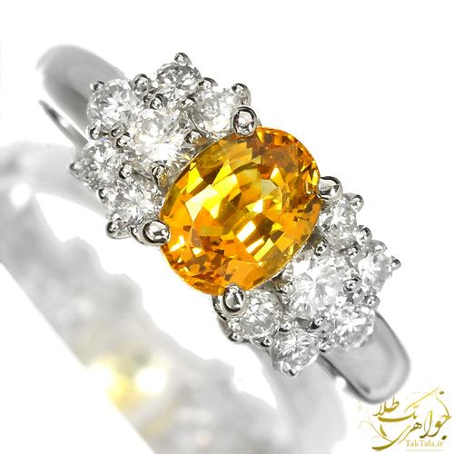 انگشتر یاقوت زرد و برلیان زنانه