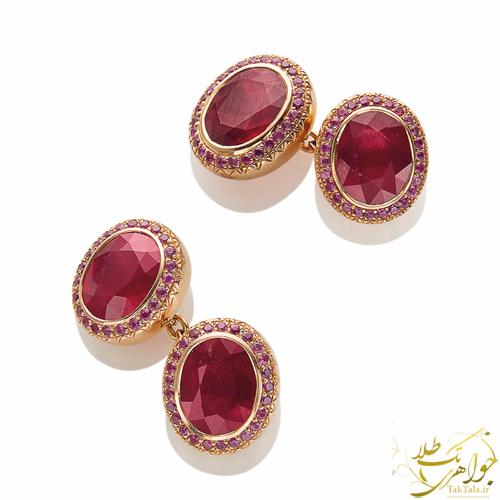 دکمه سر آستین طلا و جواهر مردانه با نگین یاقوت سرخ اصل